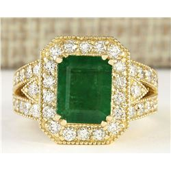 4.83 CTW Natural Emerald And Diamond Ring In 14k Yellow Gold