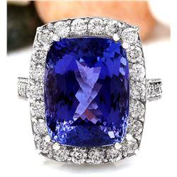 17.53 CTW Natural Tanzanite 18K Solid White Gold Diamond Ring