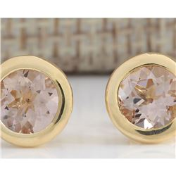 2.00 CTW Natural Morganite Earrings 18K Solid Yellow Gold