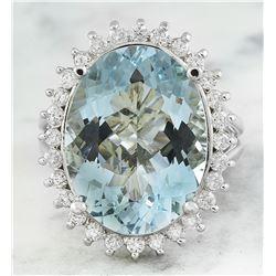 13.16 CTW Aquamarine 14K White Gold Diamond Ring