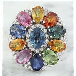 8.09 CTW Sapphire 18K White Gold Diamond Ring