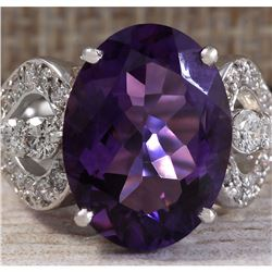 8.89 CTW Natural Amethyst And Diamond Ring In 18K Solid White Gold