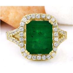 4.47 CTW Natural Emerald 14K Solid Yellow Gold Diamond Ring