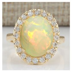 4.90 CTW Natural Opal And Diamond Ring In 14K Yellow Gold