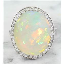 11.55 CTW Opal 14K White Gold Diamond Ring