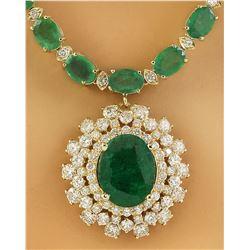 45.07 CTW Emerald 14K Yellow Gold Diamond Necklace