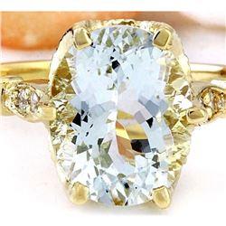 3.70 CTW Natural Aquamarine 18K Solid Yellow Gold Diamond Ring
