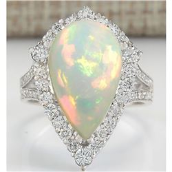 7.13 CTW Natural Opal And Diamond Ring In 18K White Gold