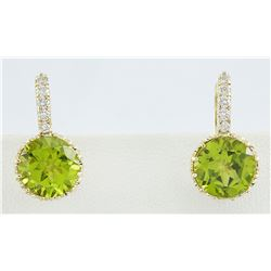 5.15 CTW Peridot 14K yellow Gold Diamond Earrings