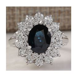 3.51 CTW Natural Blue Sapphire Diamond Ring 18K Solid White Gold