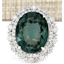 19.90 CTW Natural Green Tourmaline And Diamond Ring 18K Solid White Gold