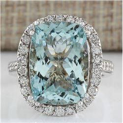 8.62 CTW Natural Blue Aquamarine Diamond Ring 18K Solid White Gold