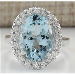 6.60 CTW Natural Blue Aquamarine And Diamond Ring 14K Solid White Gold