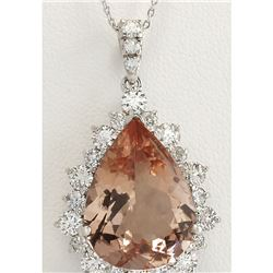 13.42 CTW Natural Morganite And Diamond Pendant In 18K Solid White Gold