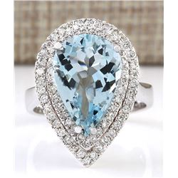 5.37 CTW Natural Aquamarine And Diamond Ring In 18K Solid White Gold