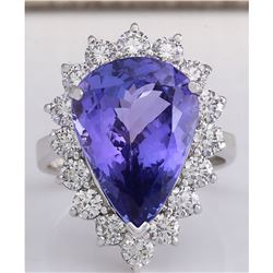 10.06 CTW Natural Blue Tanzanite And Diamond Ring In 18K White Gold