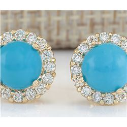 3.65 CTW Natural Blue Turquoise And Diamond Earrings 18K Solid Yellow Gold