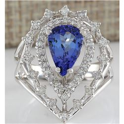 2.74 CTW Natural Blue Tanzanite And Diamond Ring 18K Solid White Gold