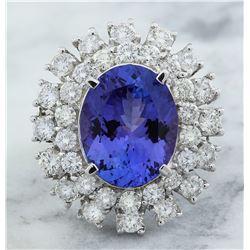 9.00 CTW Tanzanite 18K White Gold Diamond Ring