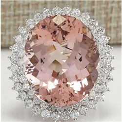 31.81 CTW Natural Peach Morganite And Diamond Ring In 18K Solid White Gold