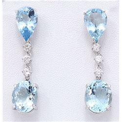 14.01 CTW Natural Aquamarine 18K Solid White Gold Diamond Earrings