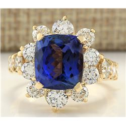 7.83 CTW Natural Tanzanite And Diamond Ring In 18K Yellow Gold