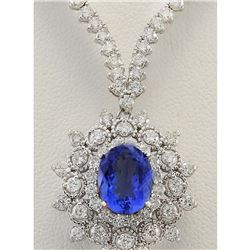 12.21 CTW Natural Tanzanite And Diamond Necklace In 18K White Gold
