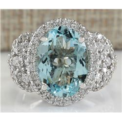 5.69 CTW Natural Blue Aquamarine And Diamond Ring In 14K White Gold