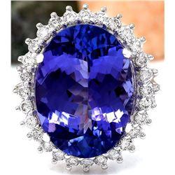14.25 CTW Natural Tanzanite 14K Solid White Gold Diamond Ring