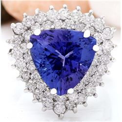 8.23 CTW Natural Tanzanite 18K Solid White Gold Diamond Ring