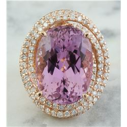 19.30 CTW Kunzite 14K Rose Gold Diamond Ring