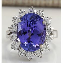 8.65 CTW Natural Blue Tanzanite And Diamond Ring 18K Solid White Gold