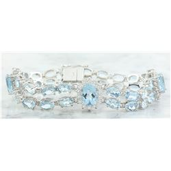 20.15 CTW Aquamarine 18K White Gold Diamond Bracelet