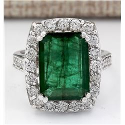 6.00 CTW Natural Emerald And Diamond Ring In 18K White Gold
