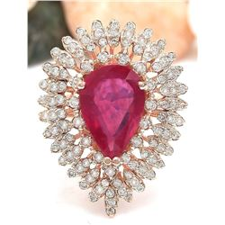 4.78 CTW Natural Ruby 14K Solid Rose Gold Diamond Ring