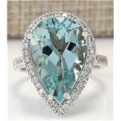 8.35 CTW Natural Aquamarine And Diamond Ring In 18K White Gold