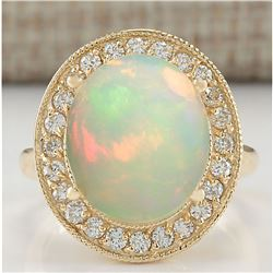 5.60 CTW Natural Opal And Diamond Ring 18K Solid Yellow Gold