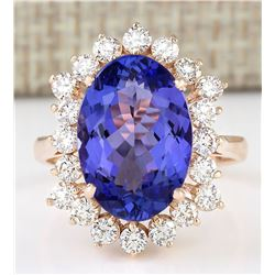 7.50 CTW Natural Blue Tanzanite And Diamond Ring 18K Solid Rose Gold