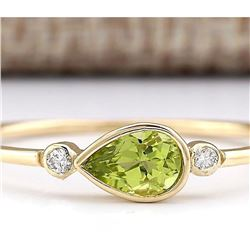 0.58 CTW Natural Peridot And Diamond Ring In 14k Yellow Gold