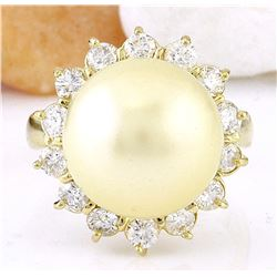 12.95 mm Gold South Sea Pearl 18K Solid Yellow Gold Diamond Ring