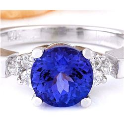 2.35 CTW Natural Tanzanite 18K Solid White Gold Diamond Ring