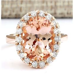 5.97 CTW Natural Morganite And Diamond Ring In 18K Rose Gold