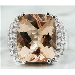11.20 CTW Morganite 18K White Gold Diamond Ring
