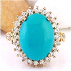 9.95 CTW Natural Turquoise 18K Solid Rose Gold Diamond Ring