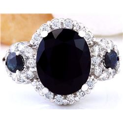 5.50 CTW Natural Sapphire 18K Solid White Gold Diamond Ring