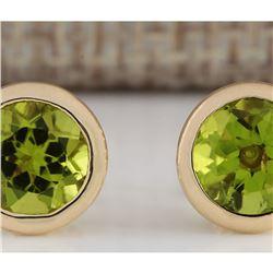 3.00 CTW Peridot Earrings 14k Solid Yellow Gold