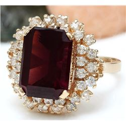 9.35 CTW Natural Tourmaline 18K Solid Rose Gold Diamond Ring