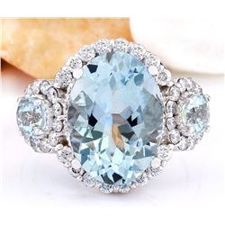 6.00 CTW Natural Aquamarine 18K Solid White Gold Diamond Ring