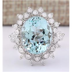 7.73 CTW Natural Aquamarine And Diamond Ring In 18K White Gold