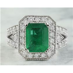 3.92 CTW Emerald 18K White Gold Diamond Ring